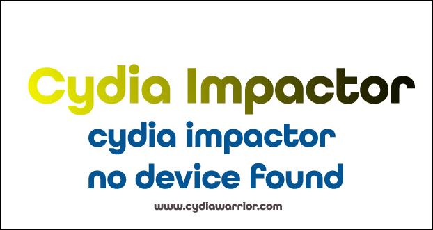 Cydia Impactor No Device Found